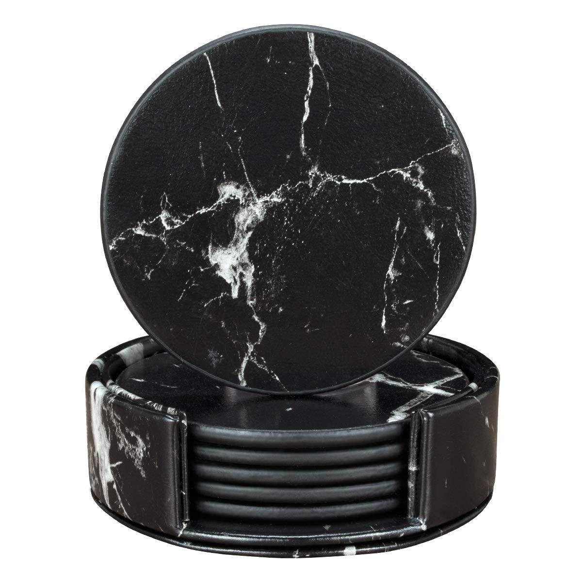 ドリンク用コースター 円形マーブルレザーコースター ホルダー付き 6個セット 家具を保護 Round ブラック Round ブラックマーブル B07KDB4W5Q