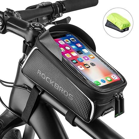 ROCKBROS Bolsa Cuadro de Bicicleta para Tubo Superior Impermeable con Pantalla Táctil para Teléfono Móvil 6,0 Inches para Bicis MTB Bici de Carretera