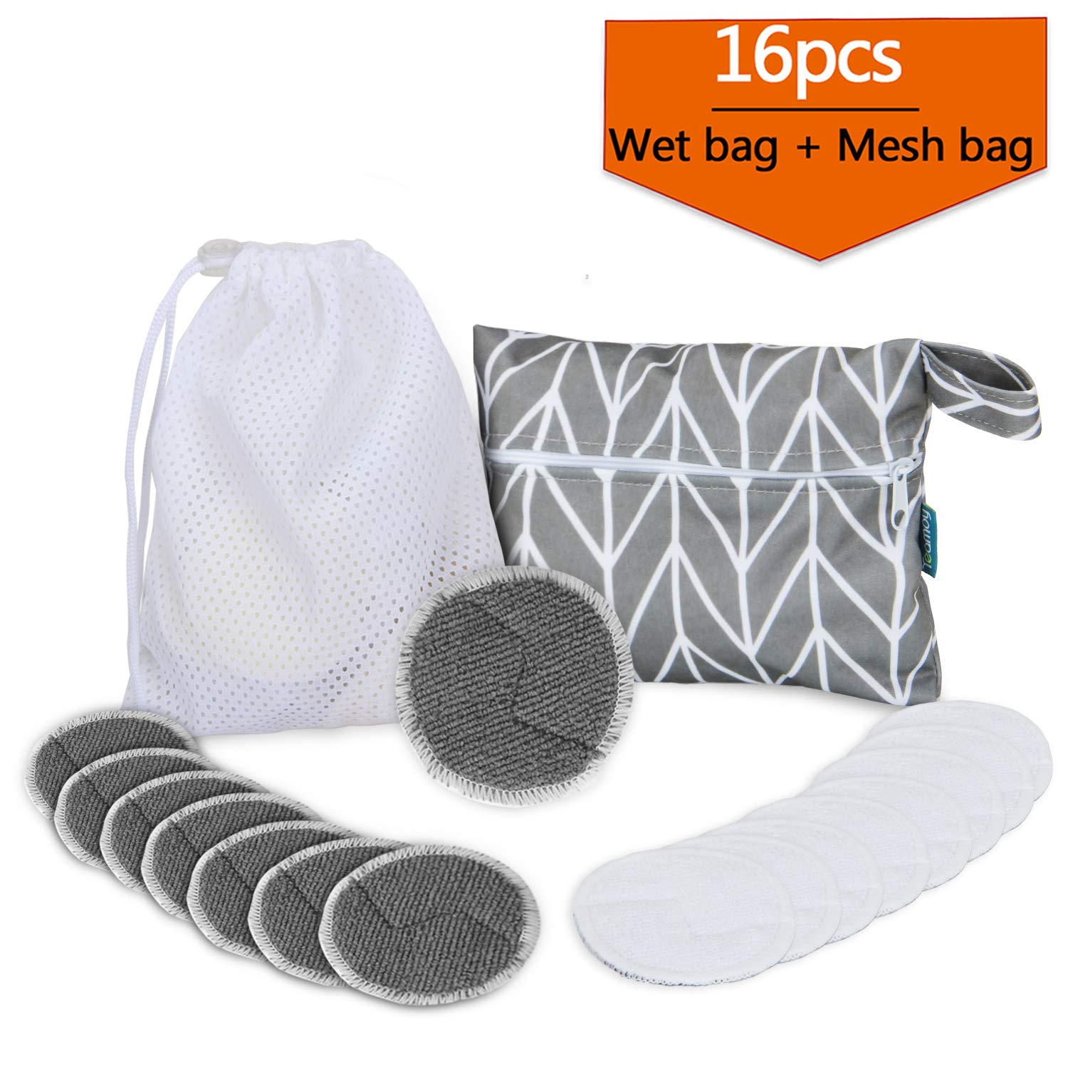 16Pcs Reusable Makeup Remover Pads with 2 EXTRA Bags(Laundry and Storage Bag), 2-Sided Microfiber Face Rounds for Face, Super Soft and Absorption Wash Cloth Pads by Teamoy