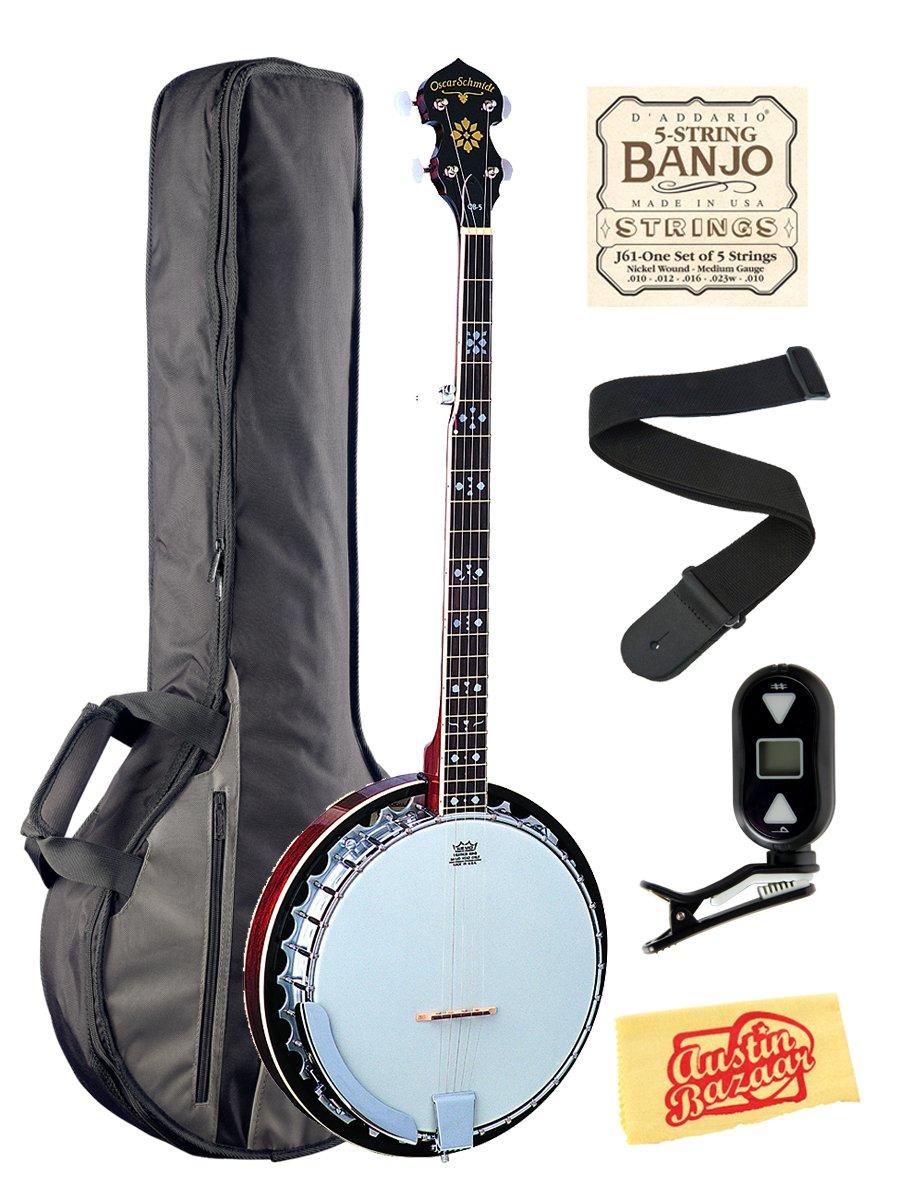 Oscar Schmidt OB5 Mahogany 5-String Banjo Bundle with Gig Bag, Tuner, Strings, Strap, and Austin Bazaar Polishing Cloth