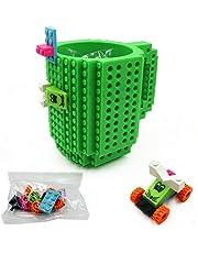 Build-on Brick Coffee Mug, Funny DIY Novelty Cup with Building Blocks Creative Gift for Kids Men Women Xmas Birthday