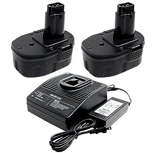 2-Pack DeWalt 14.4V Battery + Universal Charger Replacement (3300mAh, NIMH) - Compatible with DeWalt DW991K-2, DC9094, DW9094, DC728KA, DC9094, DW9091, DC9091, DC730KA, DCD920KX, DCD930KX, DW954, DW906, DW935, DC835KA, DC757KA, DCD935B2, DC833KA, DC835KB, DC930KA