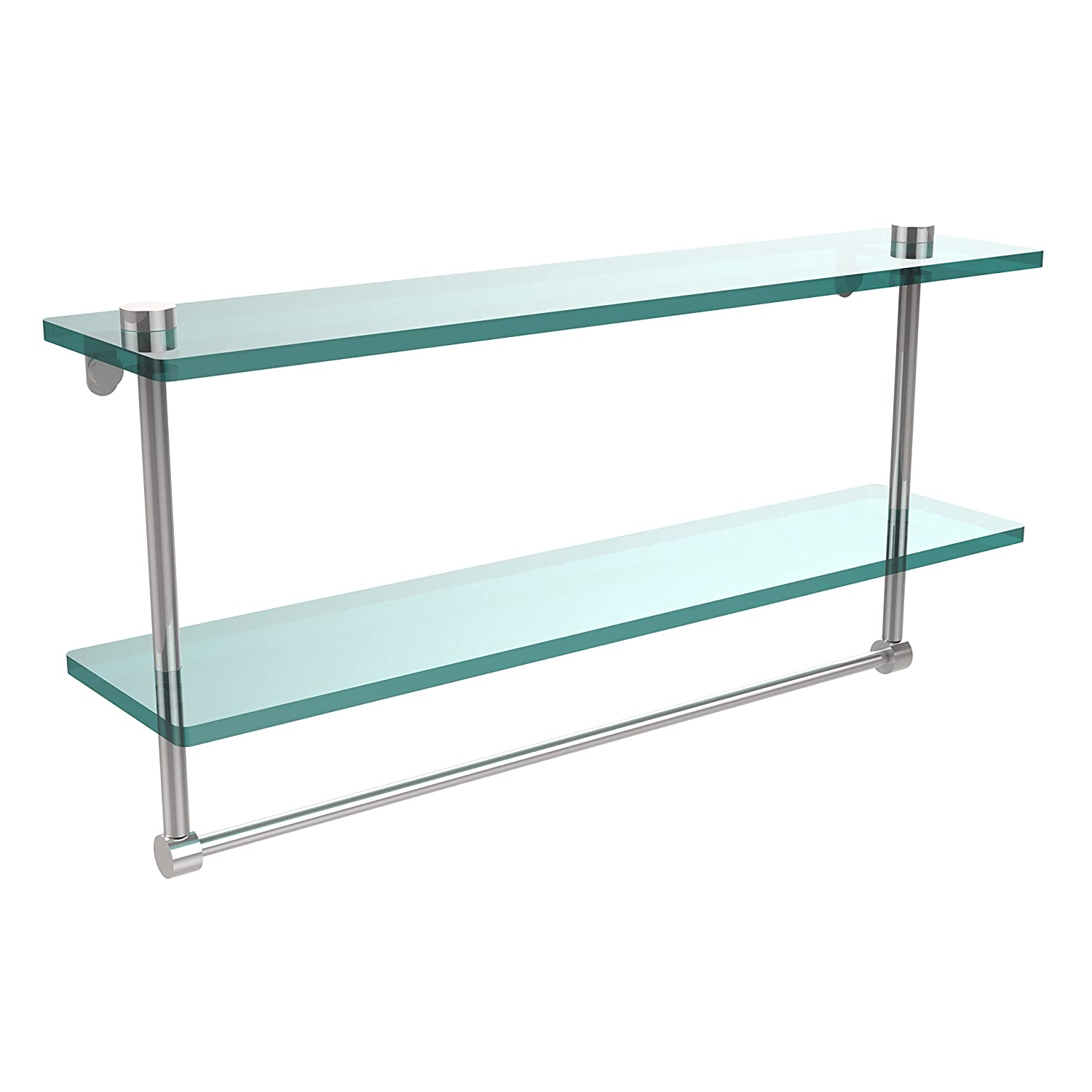 Allied Brass NS-2/22TB-PC 22-Inch Double Glass Shelf with Towel Bar by Allied Brass B004J4NMWG 光沢クロム 光沢クロム