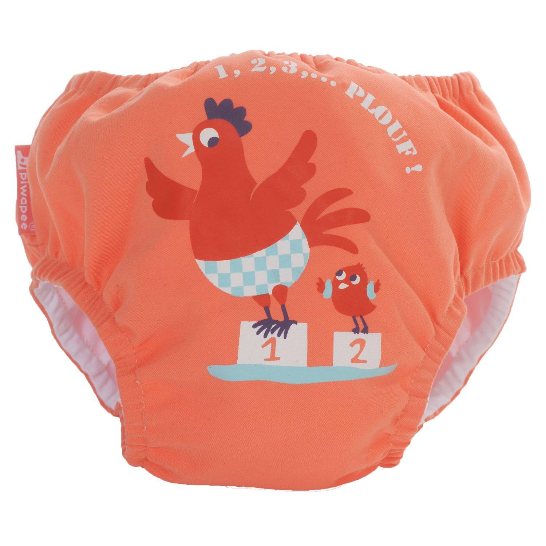 Piwapee - Traje de baño con pañal para nadar eclipsable y barreras anti fuga patentadas SWIM+ - Pollo Coral