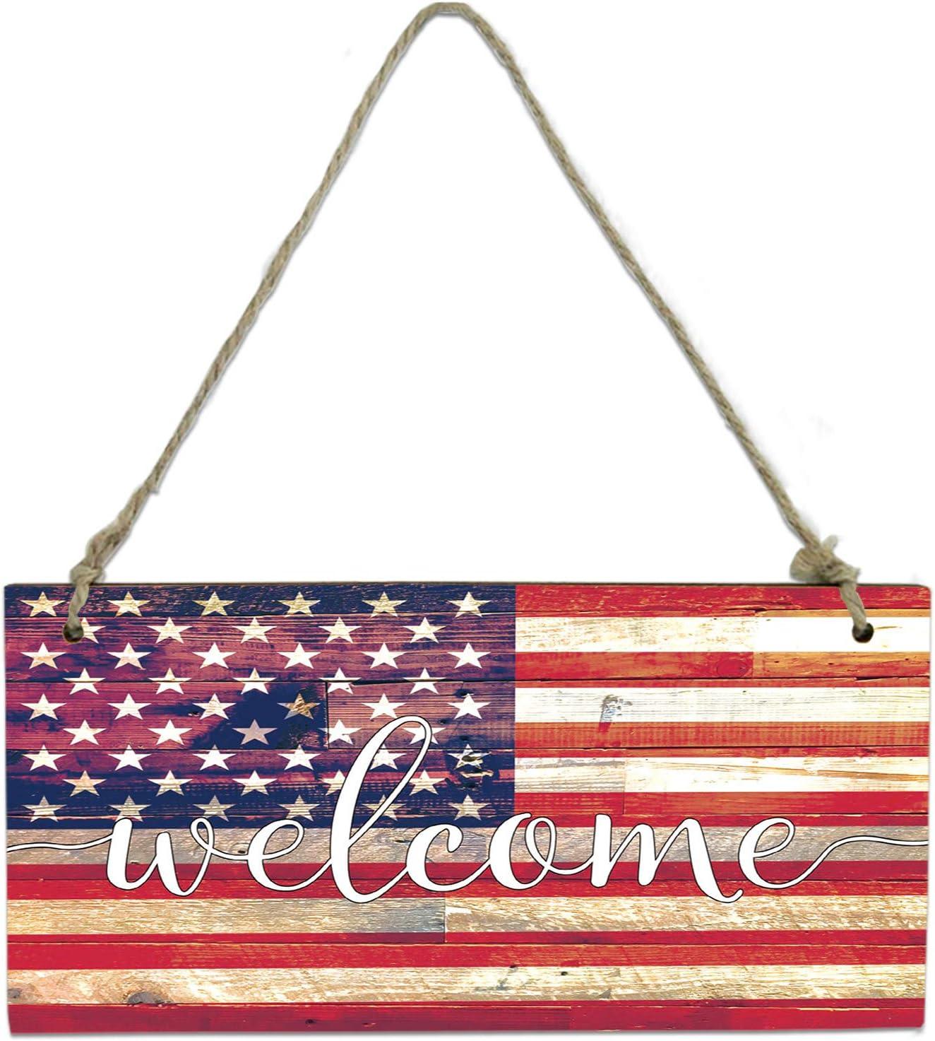 Futuregrace Retro Style American Flag Stripe Print Welcome Welcome Sign Rectangle Wooden Hanging Door Sign,Front Wall Art Door Hangers Decorations for Restaurant,Home,Outdoor,8x4in