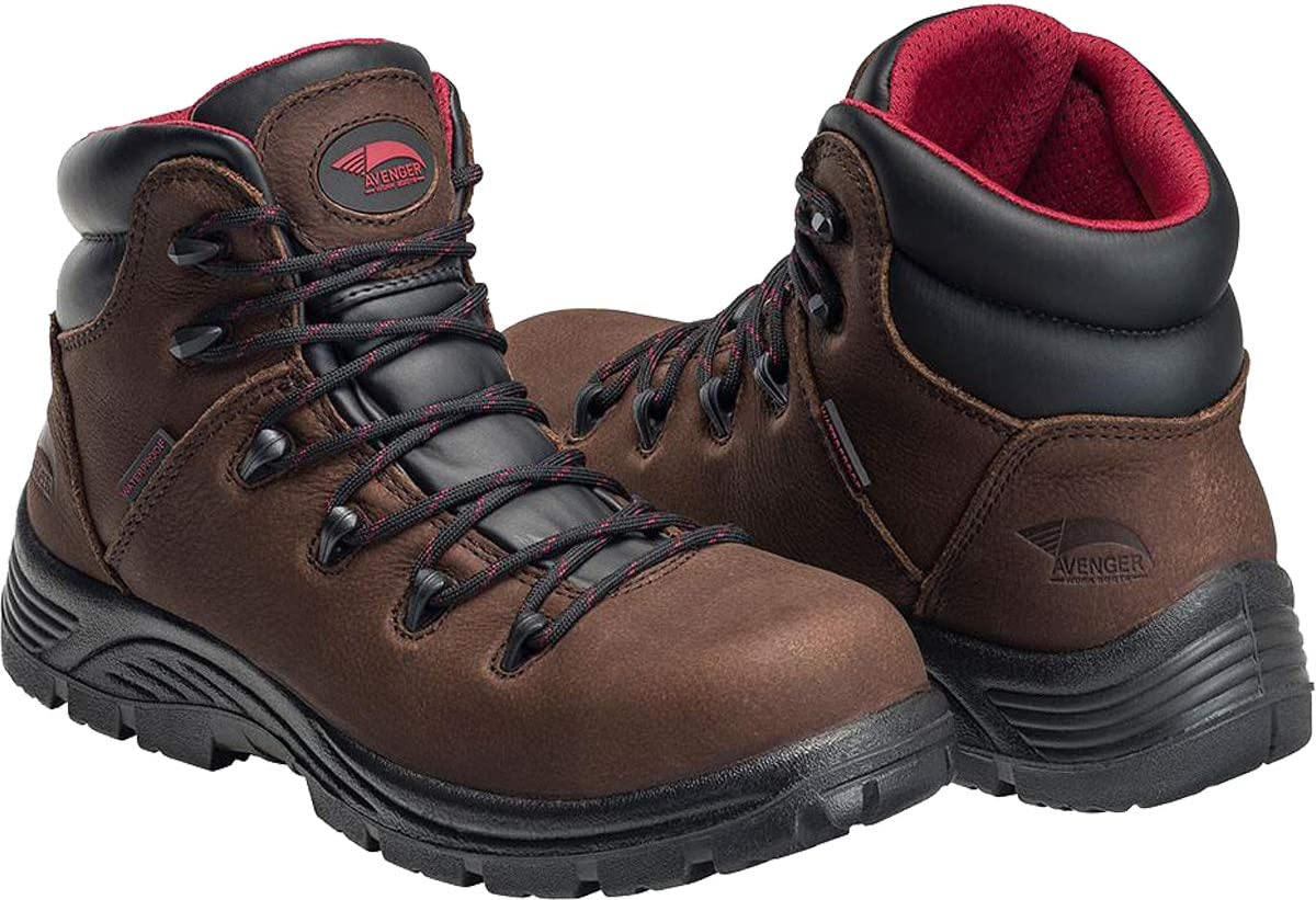 "FSI Avenger 6"" Leather Comp Toe Waterproof Puncture Resistant EH Slip Resistant Hiker, Brown, 13 Medium"