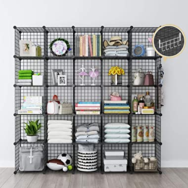 GEORGE&DANIS Wire Cube Storage Modular Shelving Unit Multi-use Metal Rack Portable Closet Organizer Wardrobe Book Shelf, Black, 14 inches Depth, 5x5 Tiers