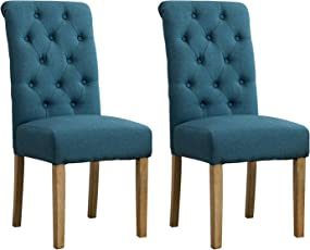 Perfect Roundhill Furniture Habit Solid Wood Tufted Parsons Dining Chair