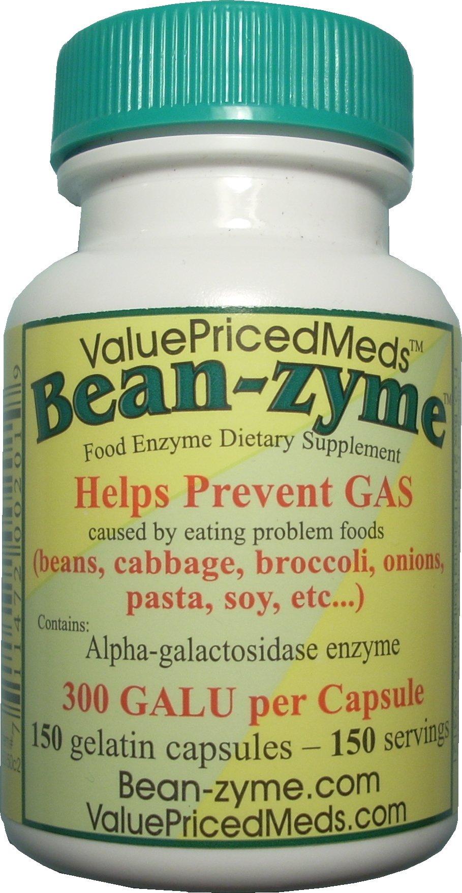 150 ct Bean-zyme anti-gas 300 GALU/cap vs Beano 150 GALU/tab.