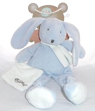 Babynat - Peluches et Doudous - Doudou pantin lapin bleu écharpe blanche -  Collection   Layette 10cc1761350