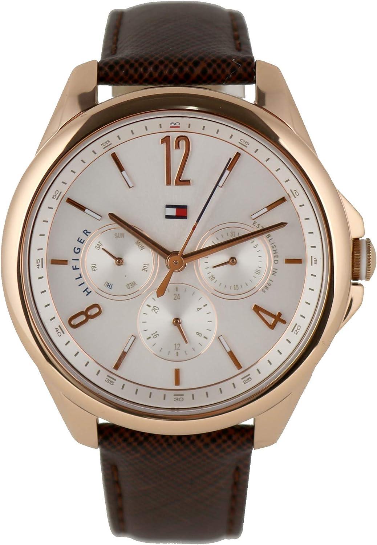 Tommy Hilfiger 1781823 - Reloj de pulsera para mujer, acero inoxidable, oro rosado, piel, color marrón
