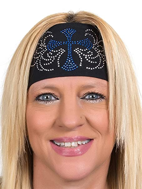 Open Road Girl Head Wrap  Wide Headbands for Women  Biker Chick Headwear   Cross 146f2209f4b4
