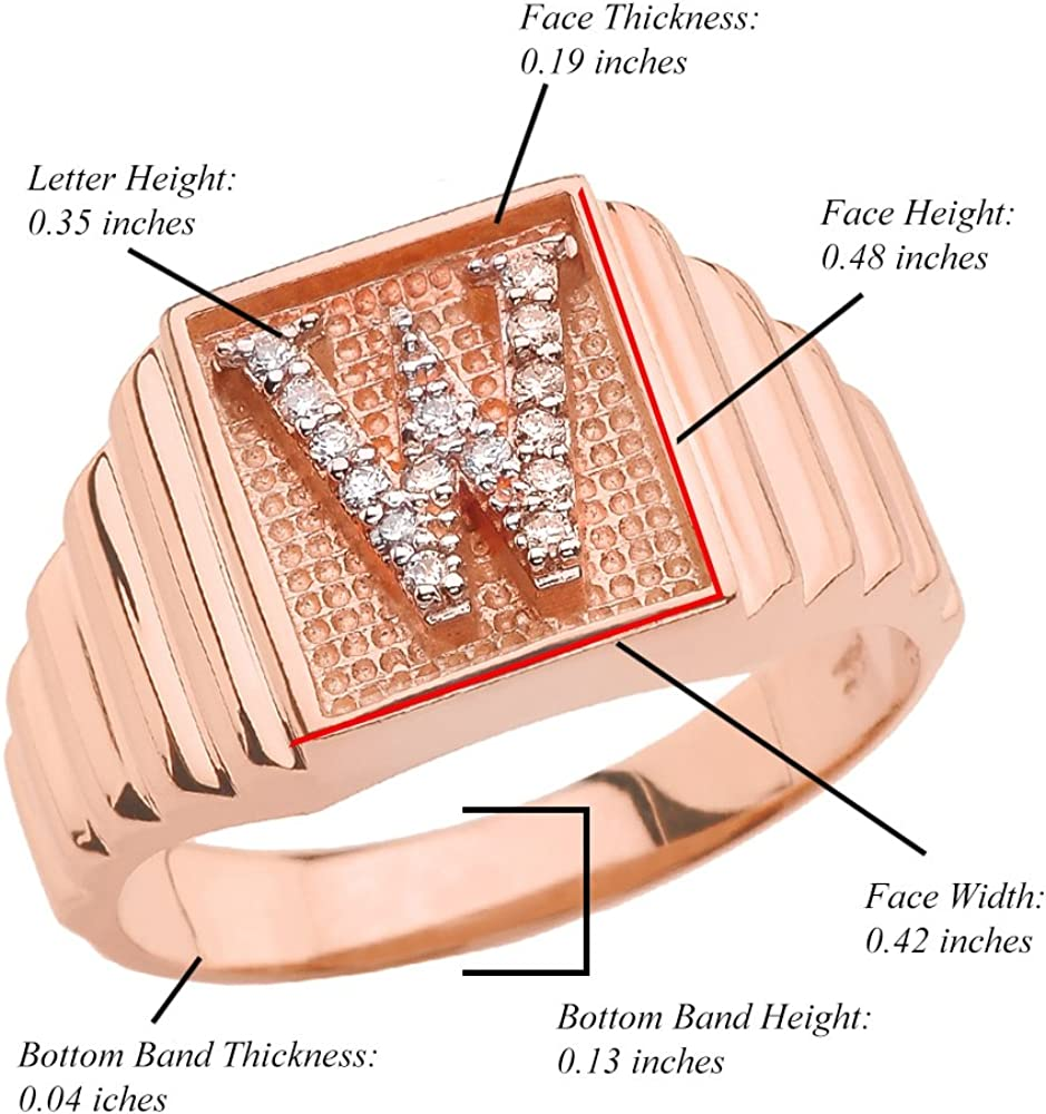 Personalized Mens 10k Rose Gold Layered Band Square Face Diamond Initial Letter A-Z Ring