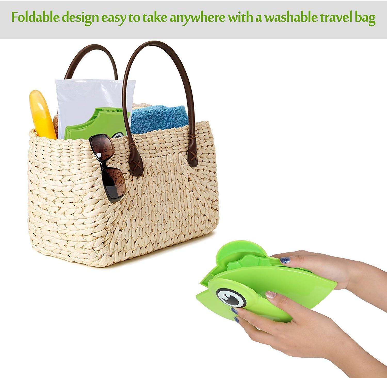 Fundas de asiento de inodoro reutilizables y plegables para viajes con almohadillas de silicona antideslizantes con 10 paquetes de fundas desechables para asiento de inodoro