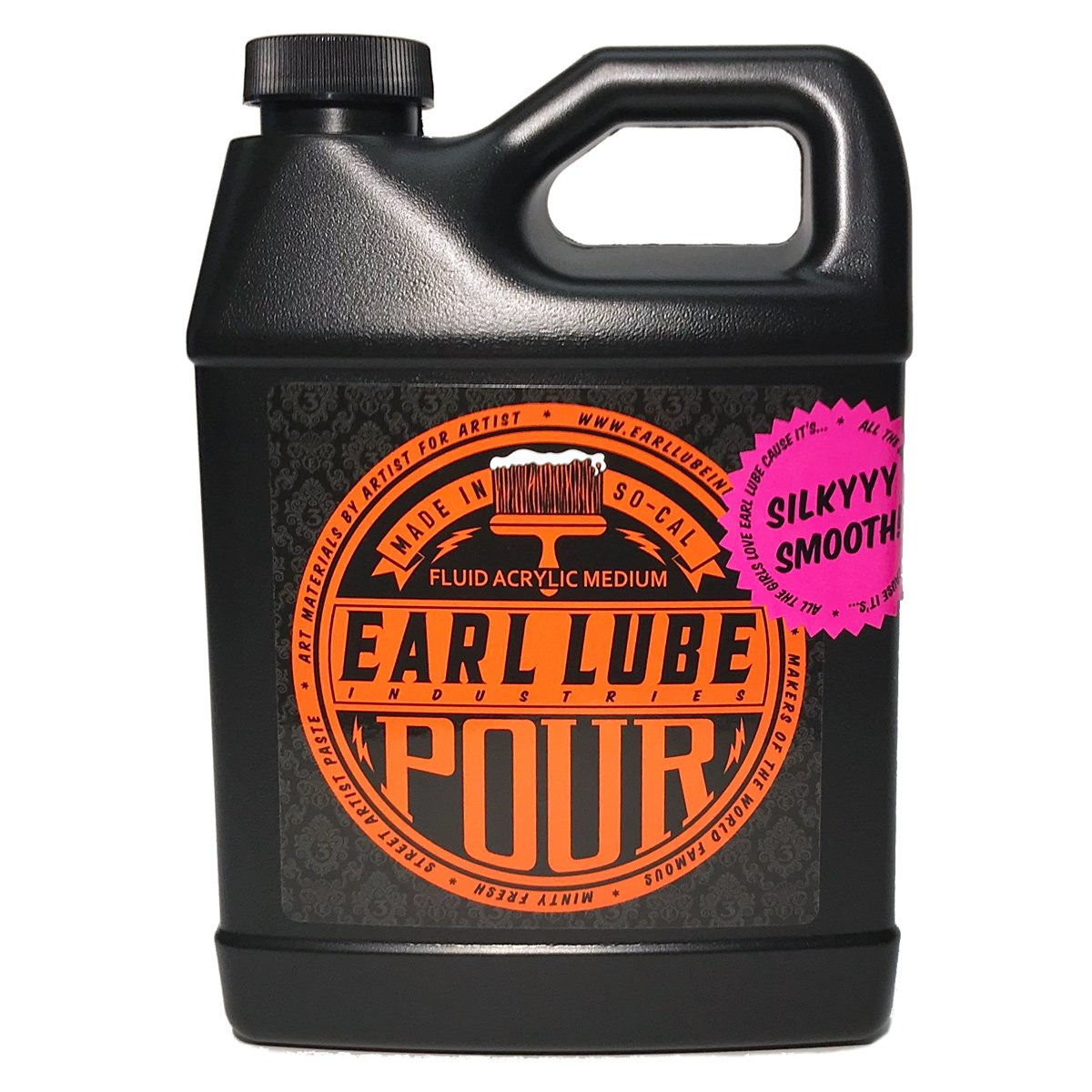 Earl Lube Pour Fluid Pouring Medium 32oz Bottle - Artist/Professional-Quality, Clear, Matte-Drying and Leveling Acrylic Pouring Medium by Earl Lube Industries