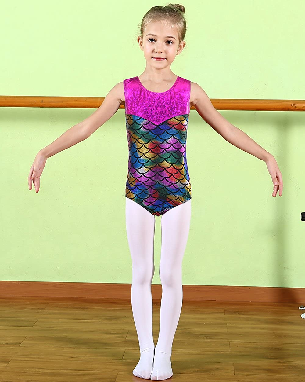 ee930f57b037 Amazon.com  BAOHULU Girls Leotards Gymnastics Shiny Spliced Scale ...