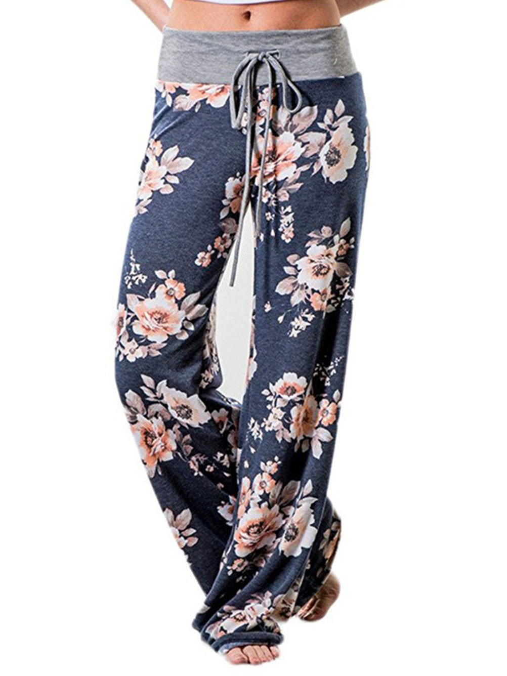 iChunhua Women's Comfy Stretch Floral Print Drawstring Palazzo Wide Leg Lounge Pants(XL,Blue)