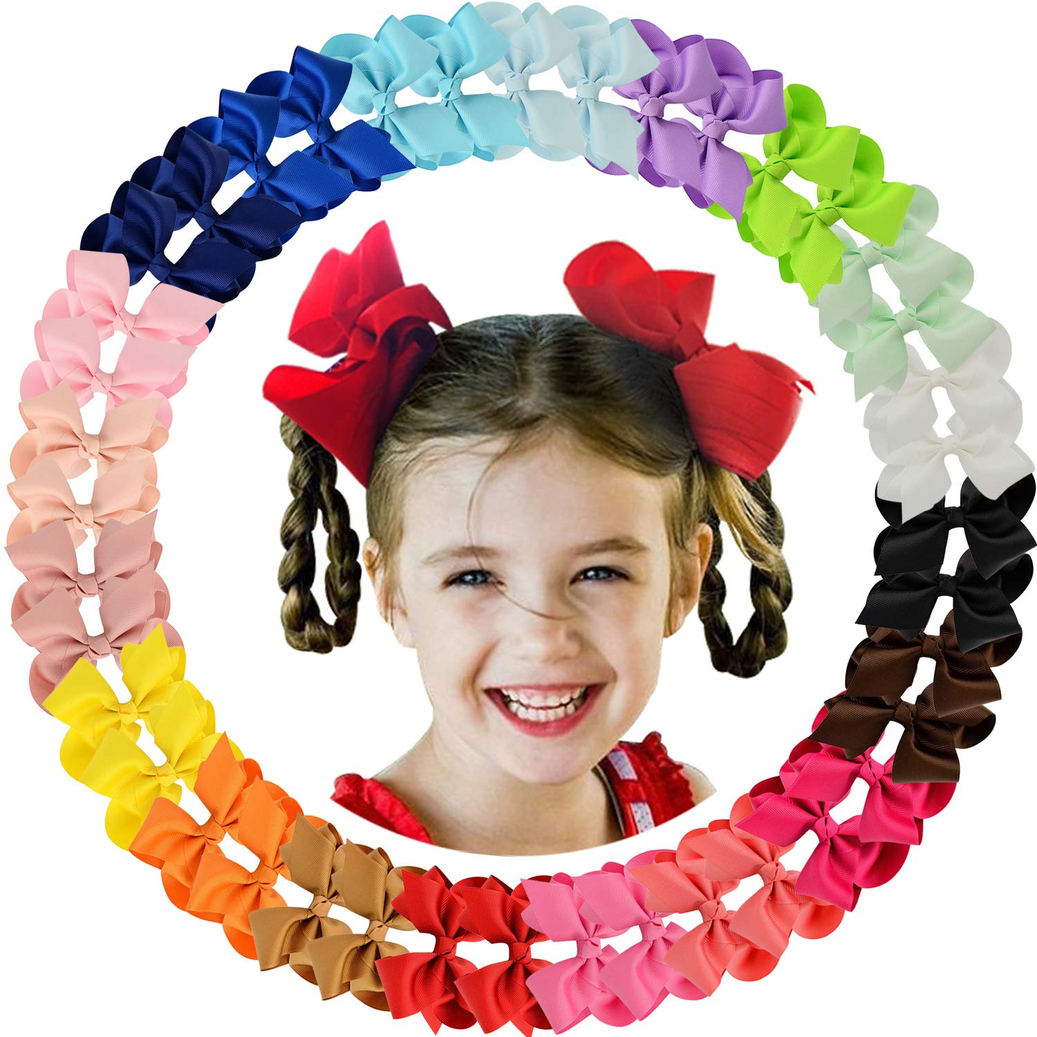 """ALinmo 40Pieces 4.5"""" Big Boutique Grosgrain Ribbon Hair Bow Alligator Clips Hair Accessories for Baby Girls Infants Toddler Teens Kids and Children"""