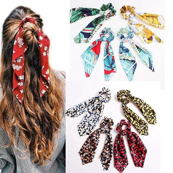 Cintas de pelo para Mujer, Hoja Rojo Bowknot Scrunchies Equiseto O ...