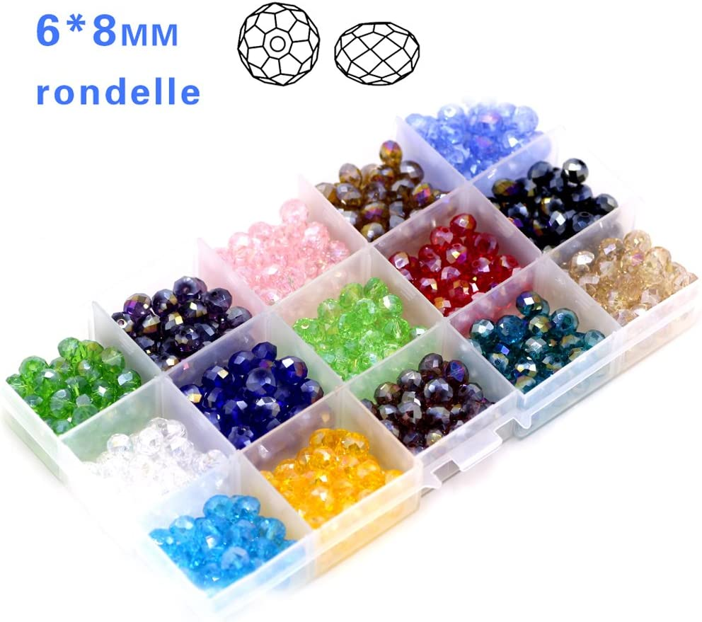 Decorative Glass Beads 6mm Faceted Briolette Rondelle Crystal Beads 1200pcs 24 Colors with a Container for Bracelet Making DIY Craft
