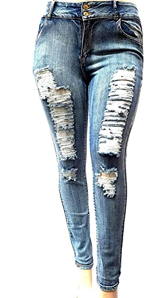 10cbe424bc02ea Jack David Womens Plus Size Acid Wash Distressed Ripped Blue Skinny Denim  Jeans Pants (24, Jack David Acid Blue N429H) at Amazon Women's Jeans store