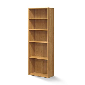 FURINNO Wright 5-Shelf Bookcase, Highland Oak