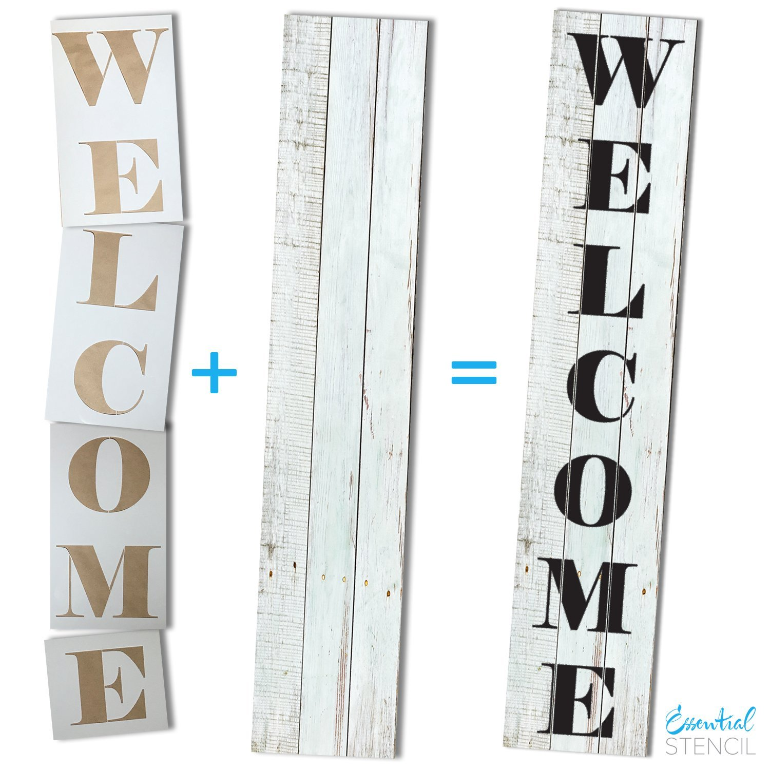 Essential Stencil Extra Large 52 inch WELCOME STENCIL for Painting on Wood | Ideal for 5ft Vertical Porch Sign (Rustic Farmhouse Entrance Sign) French Country Style