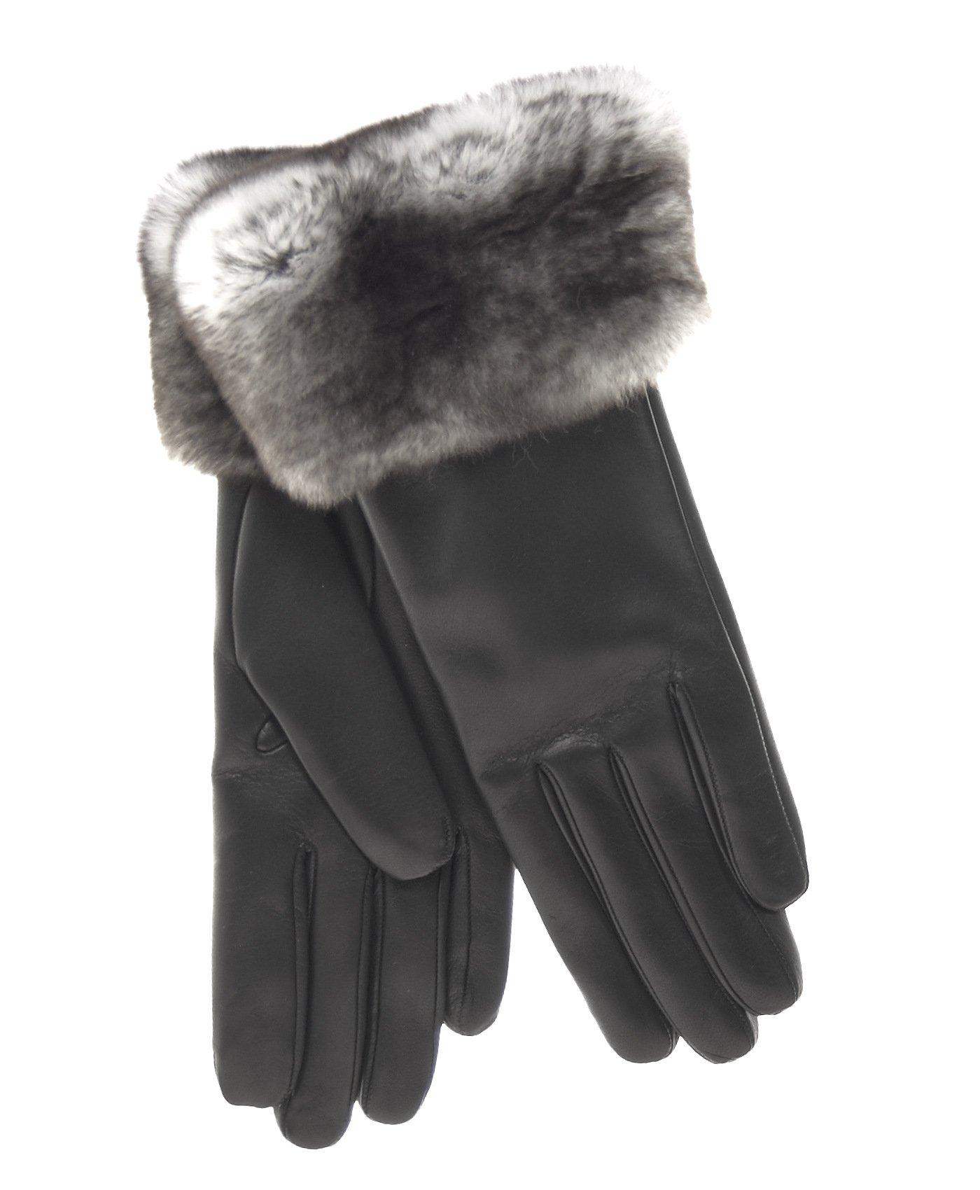 Fratelli Orsini Women's Italian Orylag Rabbit Fur Cuff Cashmere Lined Winter Leather Gloves Size 8 Color Black