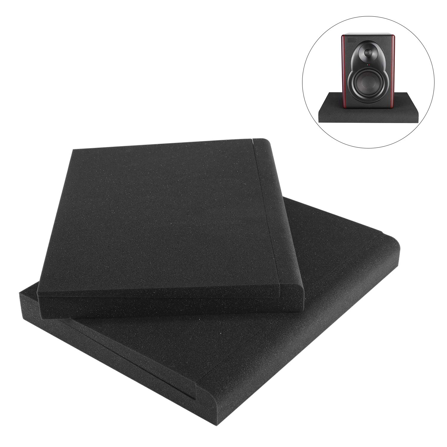 Neewer 2 Packs Studio Monitor Isolation Pads for 8 inch Monitors, Made of High Density Acoustic Foams, 15.4 x 11.8 inches/39 x 30 Centimeters Compatible with Most 8-inch Speaker Boxes (Black)