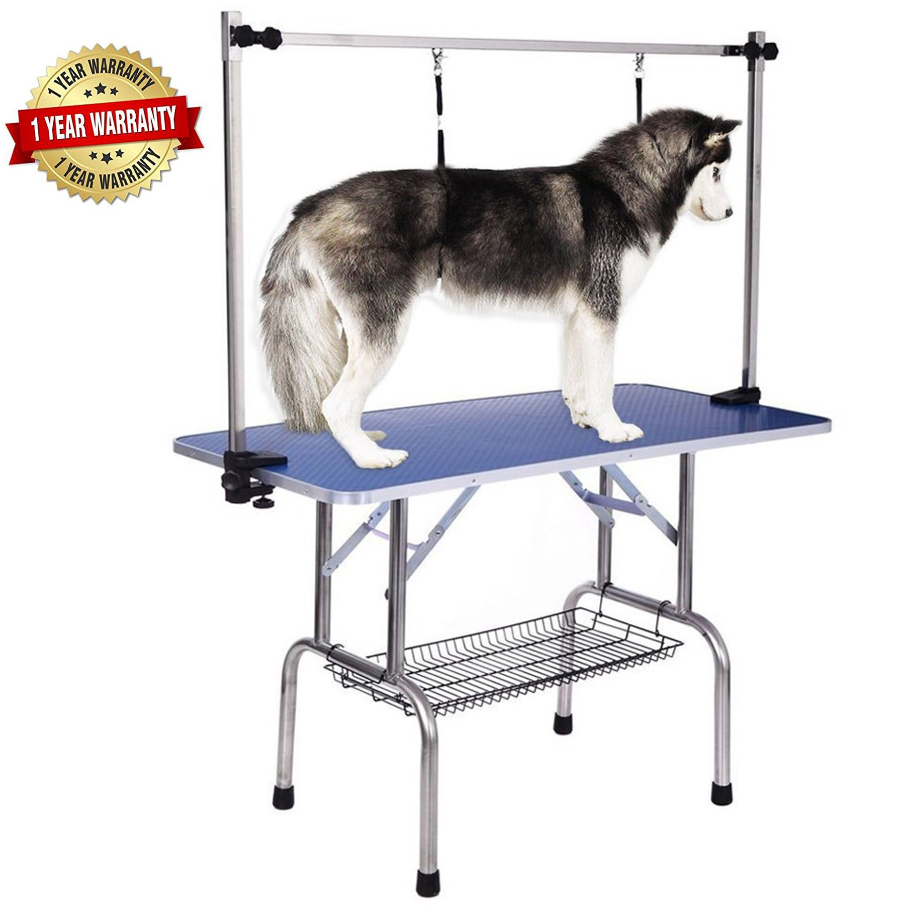 Haige Pet Large Heavy Duty Dog Pets Grooming Table, Adjustable Clamp Overhead Grooming Arm with Double Grooming Loop 36'' by 24''