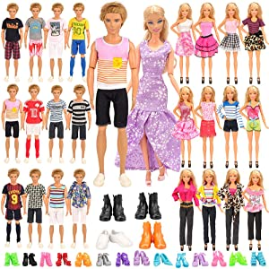 Miunana Lot 34 pcs Random Handmade Clothes Shoes Set for 11.5 inch Doll, Includ 10 Ken Boy Clothes + 5 Girl Clothes + 5 Girl Fashion Skirts + 4 Pairs of Ken Boy Shoes + 10 Pairs of Girl Doll Shoes