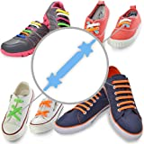NO TIE LACES ★ Elastic Silicone Shoelaces with Special Design to Easy Pull & Lock ★ Perfect for Toddler, Pre School, Dyspraxic Kid or Arthritis Senior Adult ★ Waterproof & Super Easy To Clean