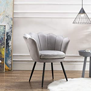 Velvet Leisure Chair for Living Room/Bed Room, Upholstered Mid Century Modern Accent Arm Chair with Black Metal Legs, Guest Chair, Vanity Chair(Warm Gray)