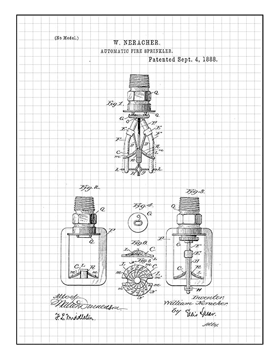 Amazon Com Automatic Fire Sprinkler Patent Print Art Poster Red