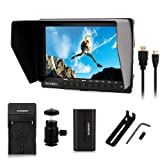 Feelworld FW760 FW-760 + EACHSHOT Battery+Charger 4K HDMI Output 7'' Video Monitor IPS Full HD 1920x1200 HDMI 1080p with Sunshade & mini HDMI Macro HDMI for BMPCC for Dslr Camera Canon Sony
