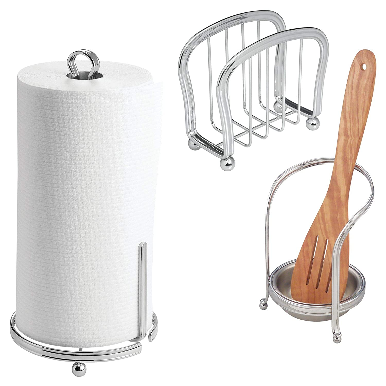 mDesign Kitchen Counter Accessory Set, Spoon Rest, Paper Towel Stand, Napkin Holder - Set of 3, Chrome