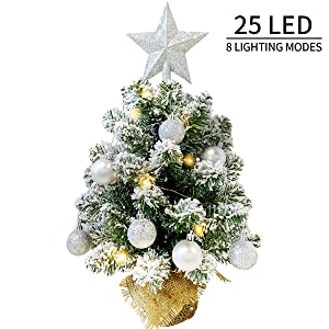 MAOYUE Tabletop Christmas Tree, Artificial Snow Christmas Tree, 20in Mini Christmas Tree with Battery Operated 8 Mode Lighted for Christmas Decorations, Home Decor, Office, Dining Table