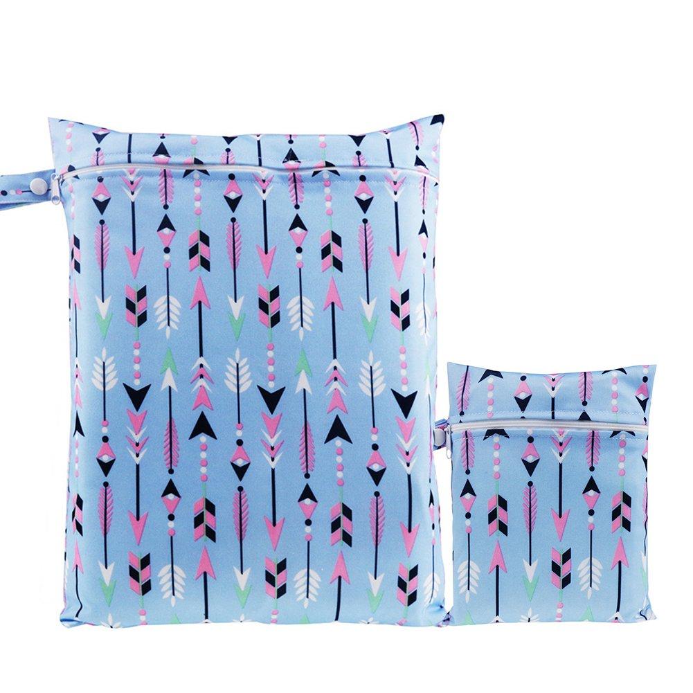 Wet Dry Bag, BOBORA Baby Waterproof Zipper Bag Washable Reusable Baby Cloth Diaper Bag Pack of 2 BO-UK327-EN0444B