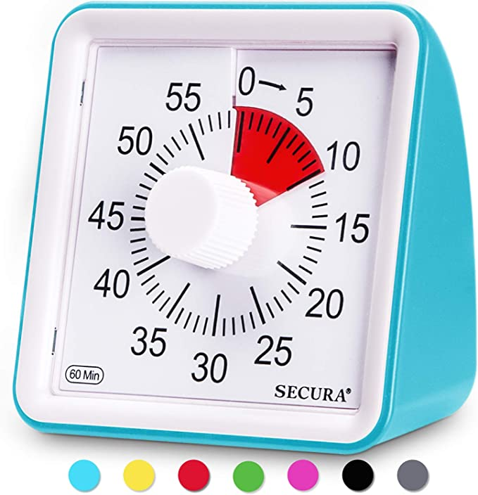 Use a 60-minute visual timer to help kids with time.