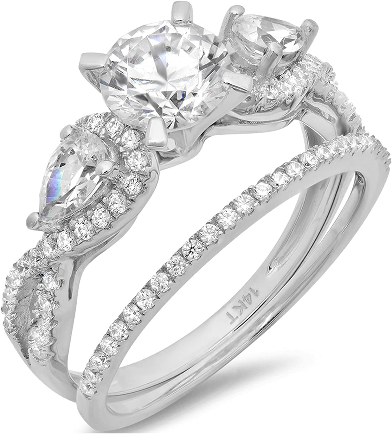 1.94ct Round Pear Cut Solitaire 3 stone With Accent VVS1 Ideal D Moissanite & Simulated Diamond Engagement Promise Designer Anniversary Wedding Bridal ring band set 14k White Gold