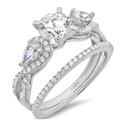 ef7cf56d4bf22 Clara Pucci 1.9 CT Round and Pear Cut Pave Halo Bridal Engagement Wedding  Ring Band Set 14k White Gold