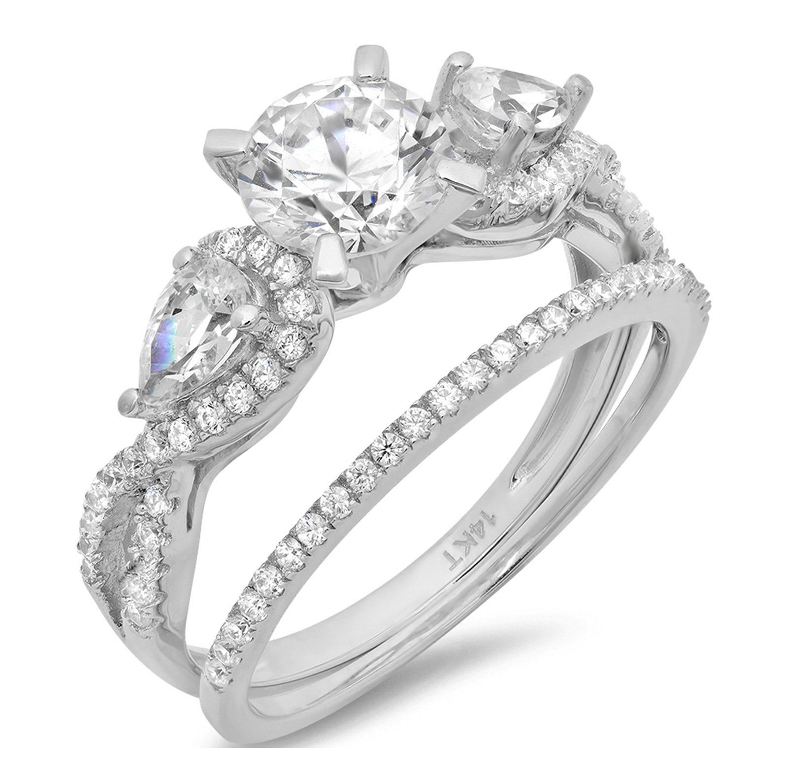 Clara Pucci 1.9 CT Round And Pear Cut Pave Halo Bridal Engagement Wedding Ring band set 14k White Gold, Size 7