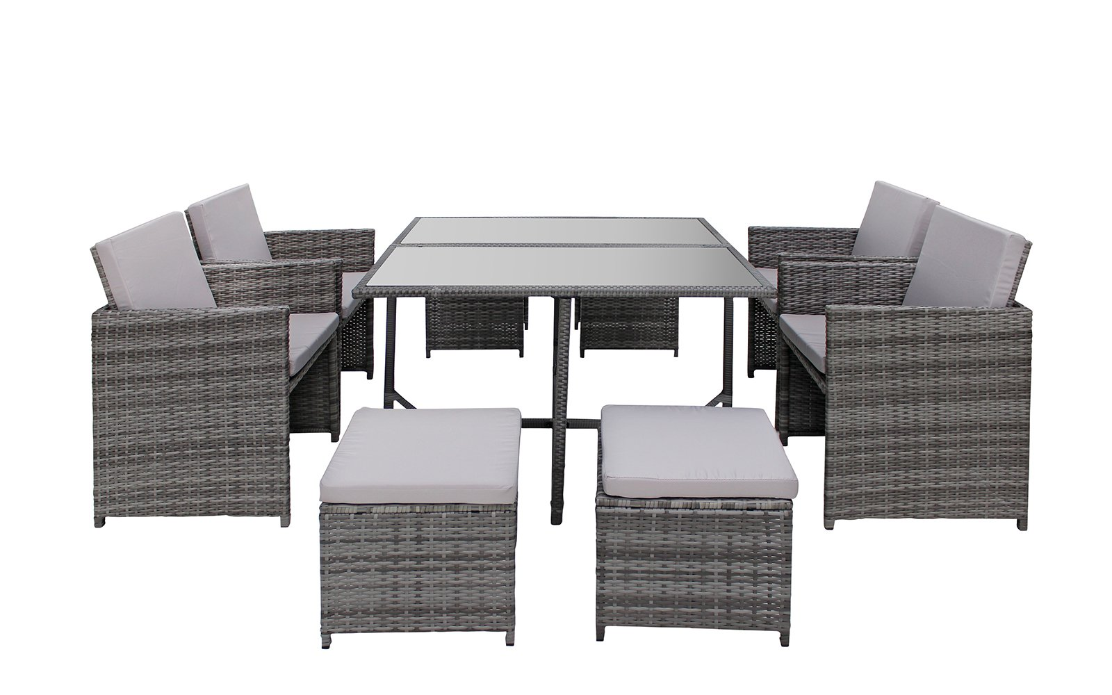 Modern 8 Piece Space Saving Outdoor Furniture Dining Set, Patio Rattan Table and Chairs Set (Grey/Grey)