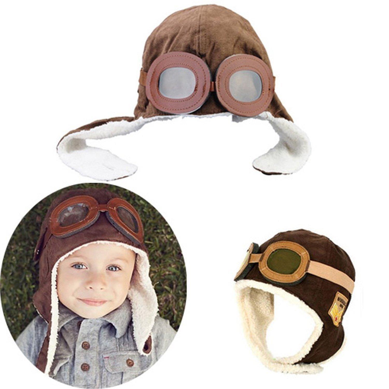 Baby Kids Winter Warm Hat Boy Warmer Earflap Hat Pilot Aviator Cap with Goggles Pattern Brown