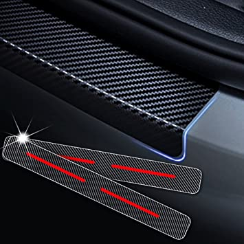 Carado 4D Carbon Fiber Door Entry Guards Paint Scratch Cover Protector for Car Truck SUV Threshold Trim Stickers with Type G Red