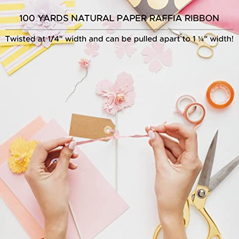 Party Decor DIY Home projections 1//4 x 100 yd Gift Packaging Pastel Pink Pearlized Raffia Ribbon Natural Farms