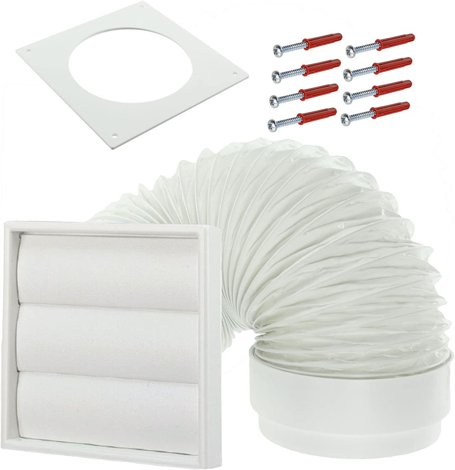 SPARES2GO Exterior Wall Venting Kit /& Extension Hose for Indesit Tumble Dryers Brown, 4 // 102mm