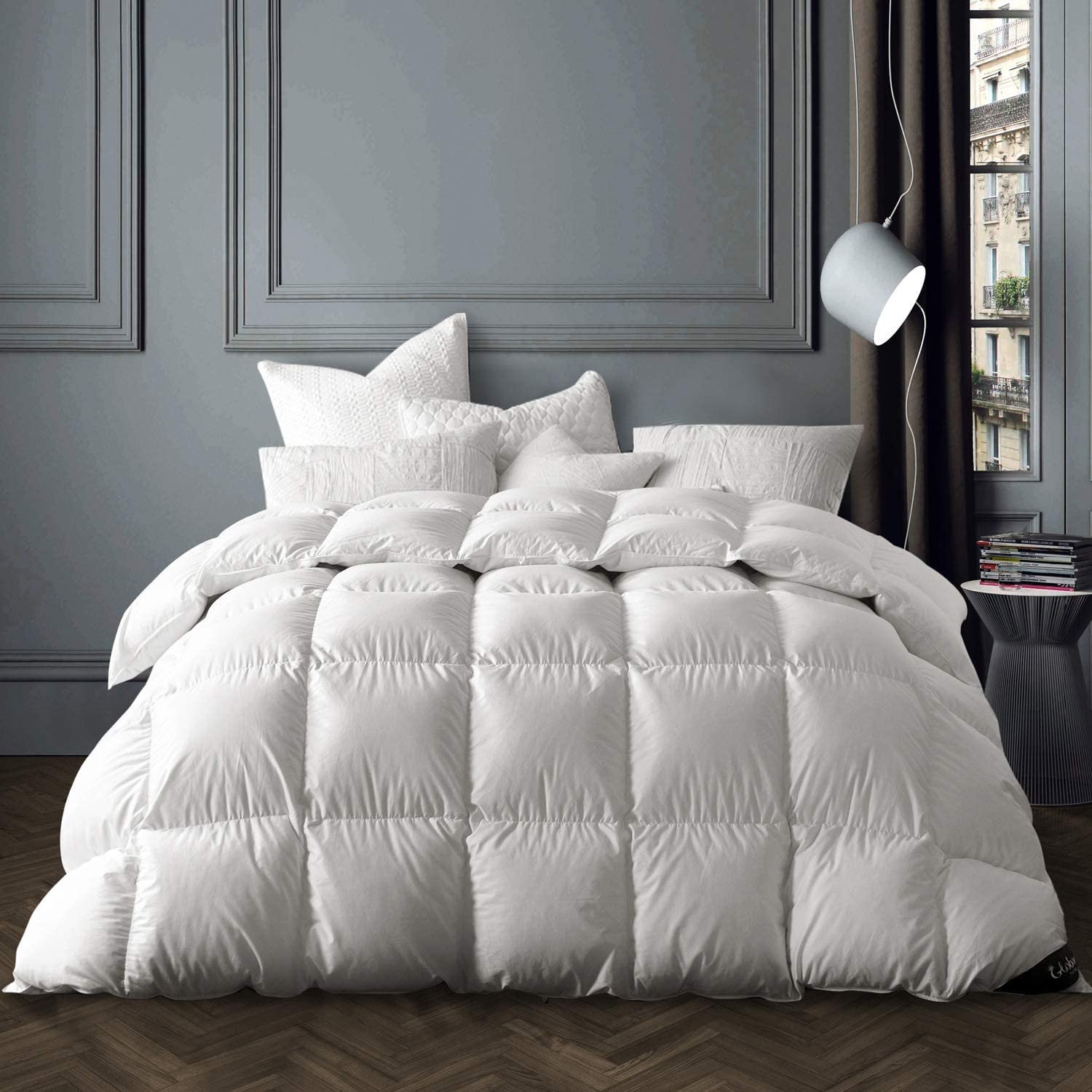 Globon White Goose Down Comforter Queen/Full Size, 50 OZ Fill Weight, 700 Fill Power, 400 Thread Count 100% Cotton Shell, Heavy Weight for Winter, White Color