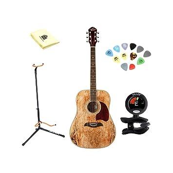 Oscar Schmidt OG2SM Guitarra Acústica – madera de arce) con gamuza de limpieza, púas