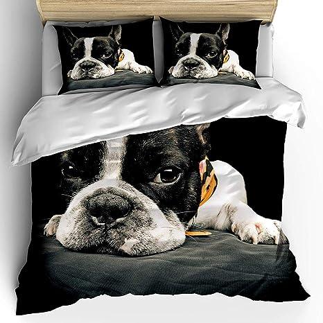 Erosebridal 3D Dog Printed Duvet Cover Set Queen Size Kids Teen Boys Bedding Set Cute Pet Puppy Comforter Cover Animal Theme Quilt Cover for Children Adult Decor Bedspread Cover